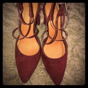 Burgundy colored heels